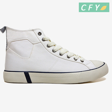 2018 New model men high cut white canvas shoes wholesale vulcanized campus casual sneaker
