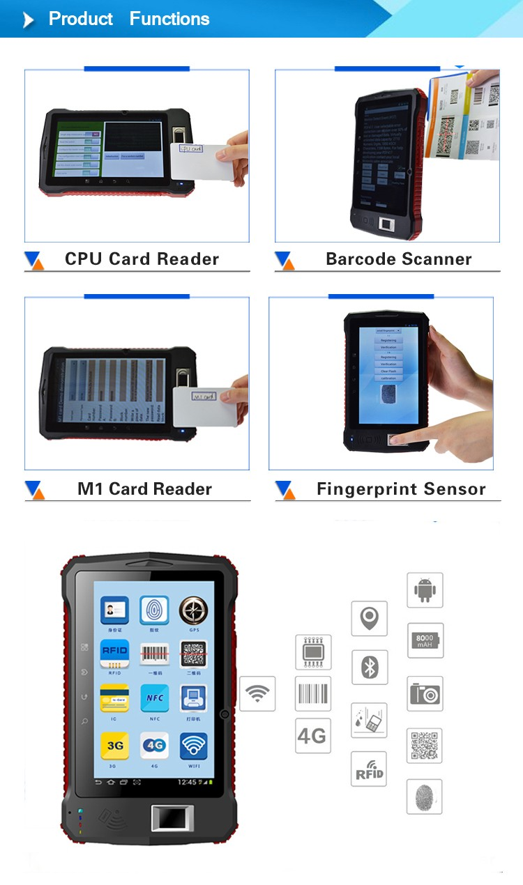 Android OS 6.0 handheld wifi wireless camera gps price of biometric fingerprint scanner finger print reader tablet pc
