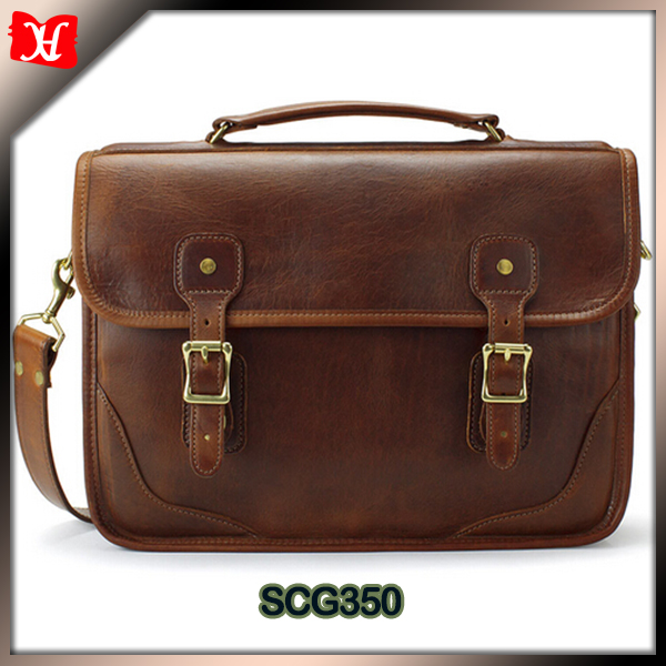 Vintage Luxury leather brief bag Brown color briefcase bag with flap double buckle