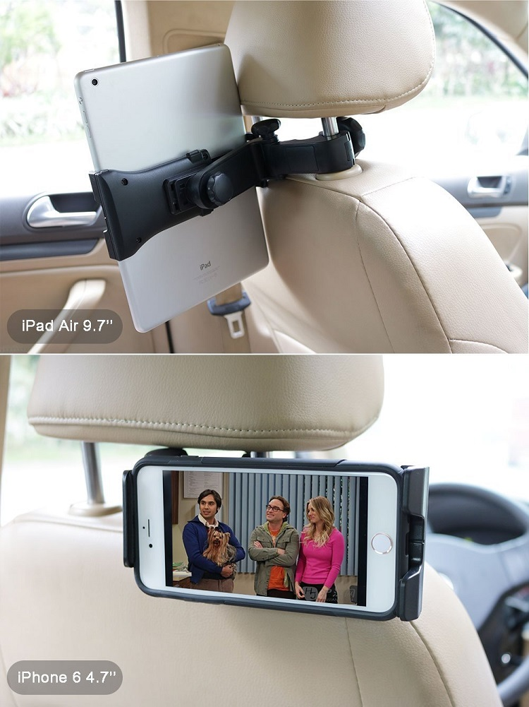 Car Headrest Tablet Mount Holder, Universal Headrest Backseat Tablet Cell Phone Car Mount Stand Holder for tablet