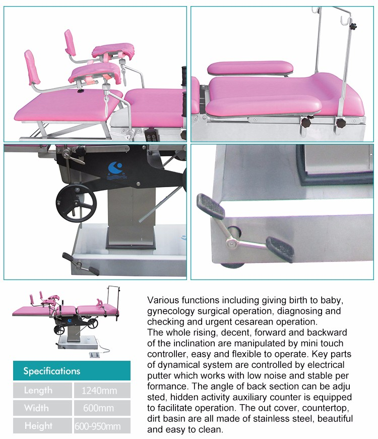 High Quality Adjustable Hospital Electric Obstetric Bed