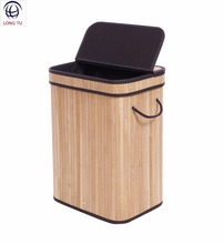 Rectangular Decorative Natural Pop Up Bamboo Folding Laundry Hamper Basket