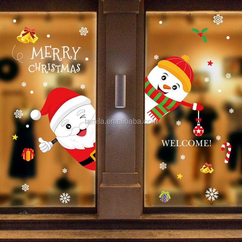 Removable Christmas Decals Home Decorations Glass Window Santa Wall Sticker