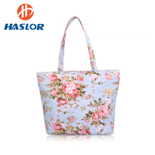 New Retro Mommy Floral Canvas Handbag Print Zipper Top Shopping Shoulder Bag Tote