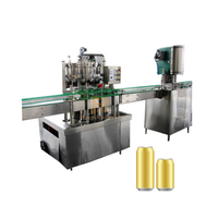 Small Scale Automatic Juice / Soda / Beer Aluminum Tin Can Filling Line Machine