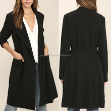 Fashion suit jacket for girls with a tying sash belt black trench coat office coat for women