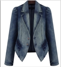 New Fashion Women Denim plus Jean Jacket Front Buttons Basic Coat oversized