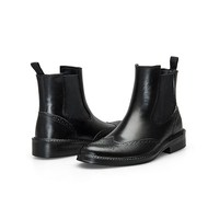 Black color ankle heigh mens PU leather shoes boots