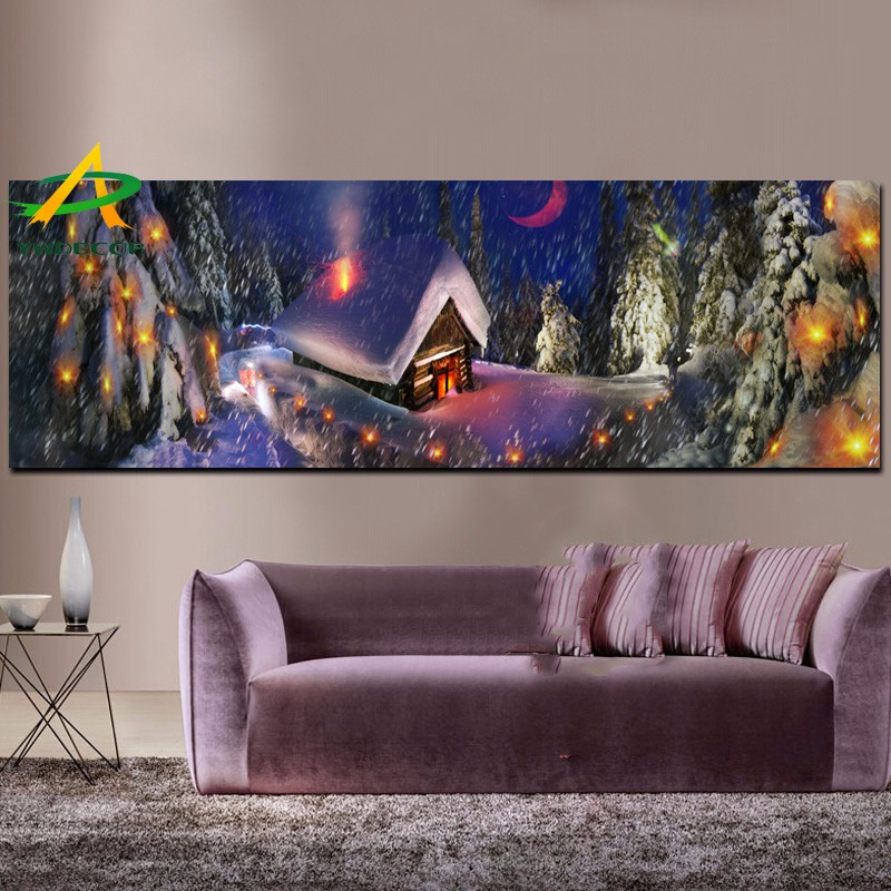 christmas painting on canvas with led lights snow village wall fabric picture