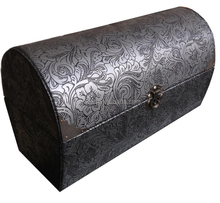 2015 Traditional Black Vinyl Paper Wrapped Wooden Wine Box