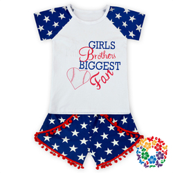 Wholesale Polka Dots Cotton Clothing Set Boutique Icing Shorts Sets Red And White Stripe Girls Shorts