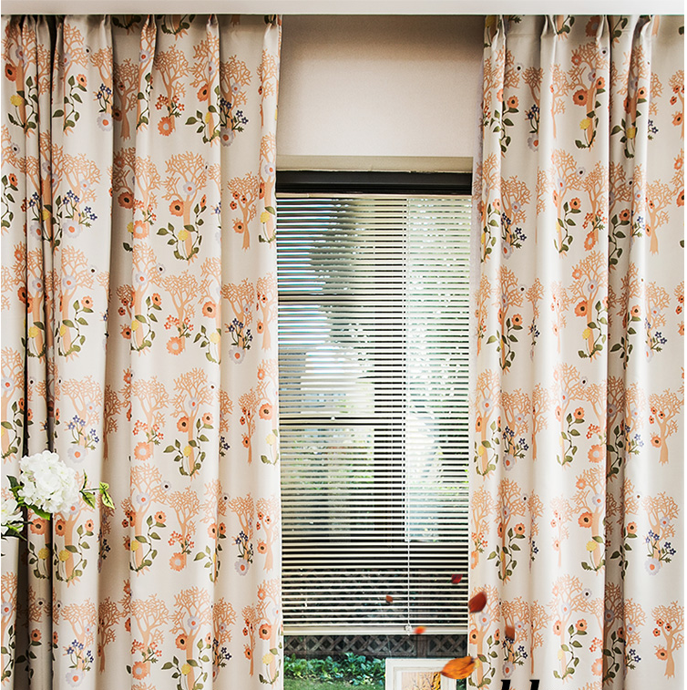 ready made high density blackout window curtain printed plant tree pattern livingromm bedroom curtain