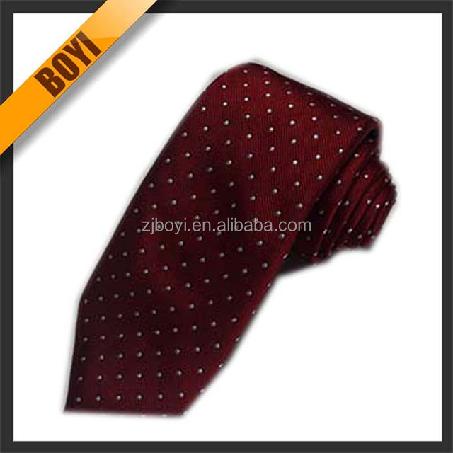 Hot Sale Stylish Burgundy Dot Polyester Ties For Wholesale
