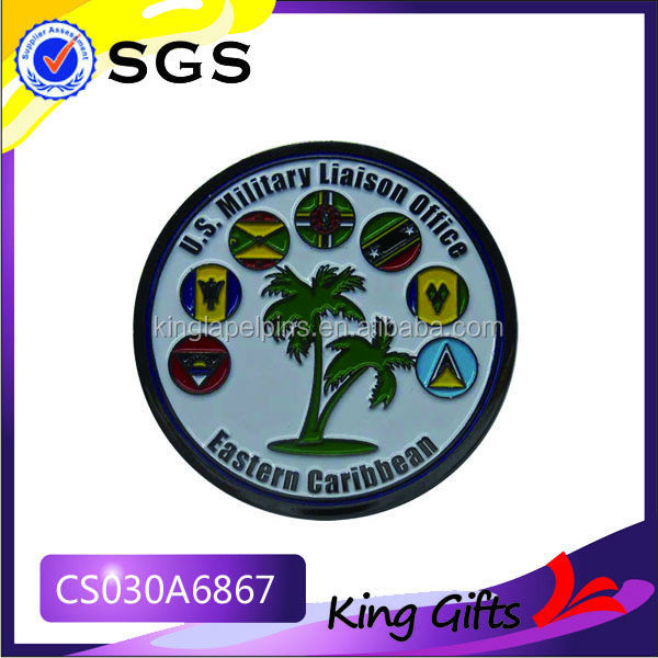US military liaison office challenge coin with coconut tree logo