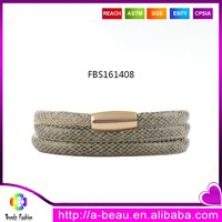Popular Triple Wrap With Stainless Charms Leather Bracelets for DIY Using FBS161408