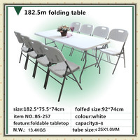 Hot sale 6ft Outdoor plastic desktop with metal tube garden dining portable folding table BS-257