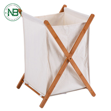 Folding Bamboo X-Frame Laundry Hamper Clothes Storage Basket Bin Bag, Natural Bamboo Laundry
