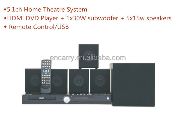 5.1ch Home Theater with HDMI DVD Player and 1x30w subwooer +5x15w Speaker