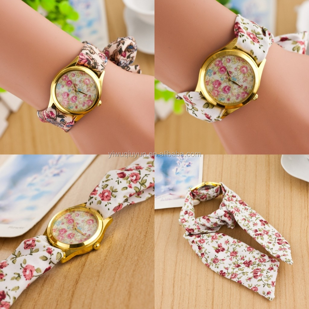 wide bracelet women's metal case ribbon band watches