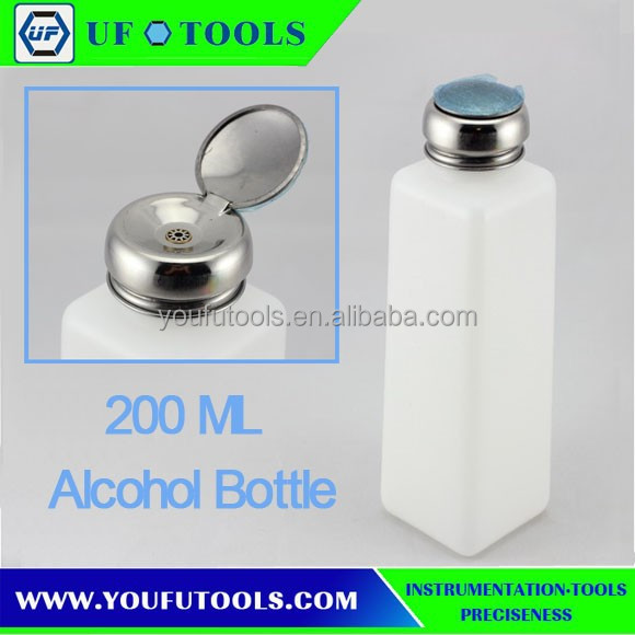 200ml Nail Polish Remover Alcohol Liquid Press Pumping Dispenser Empty Bottle/Plastic Alcohol Dispenser/ESD Alcohol Bottle