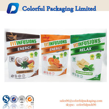 Custom printed plastic bags zip lock stand up pouches