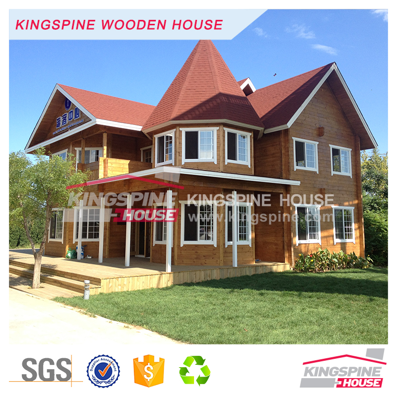 Beautiful Wooden castle prefab log cabin export dream log house KPL-092