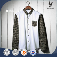 Tops designs luxury mens splice casual bussiness regular fit shirts custom blouse