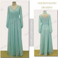 Emerald long sleeve floor-length V neck mother of bride night women fashion evenig dress