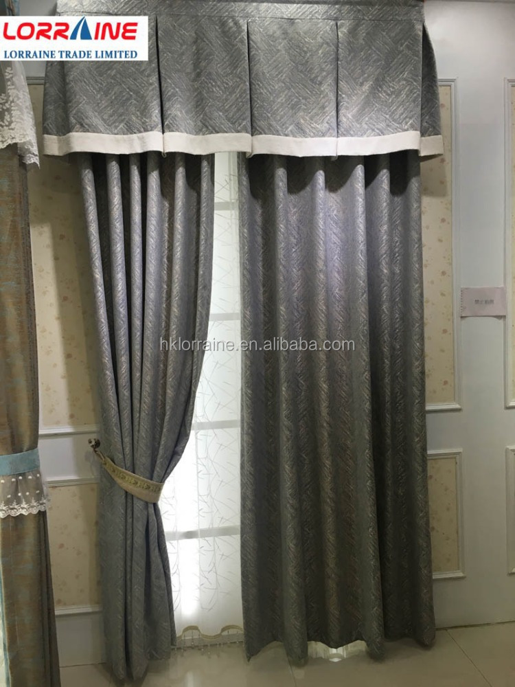 Luxury chenille african fabric wholesale finished curtains with valance