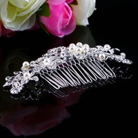 New Bridal Wedding Flower Ring Comb Hair Clip Silver Plated Stunning Sparkling Manufacturers Of Bridal Hair Comb Holder