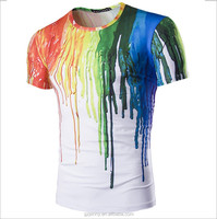OEM Hombres Short Tee Rainbow Tops Arco Iris Color Blanco White Wet T Shirts Top Brand Casual Shirts