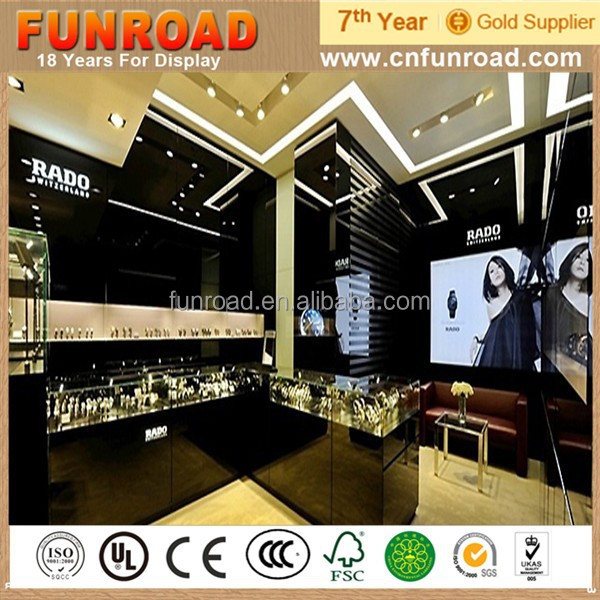 Hot selling FUNROAD plywood custom jewelry watch shop display furnitures with factory price