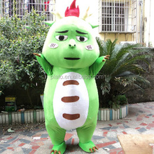 cartoon character mascot costumes/green dinosaur costume/ custom cartoon mascot costume for event promotion