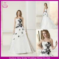SD1102 strapless white and black wedding dresses two colors wedding dress in black and white