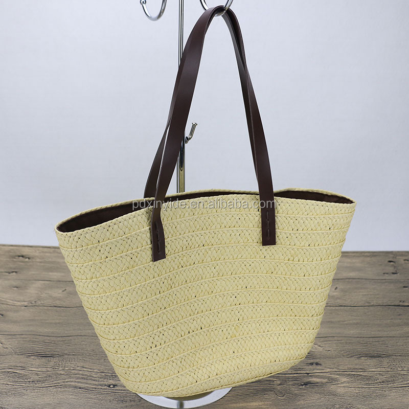 wholesale summer shoulder style straw beach bag with leather handles