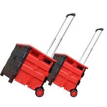 Hight quality wholesale home storage container Foldable pack n roll folding plastic Shopping Trolley Cart