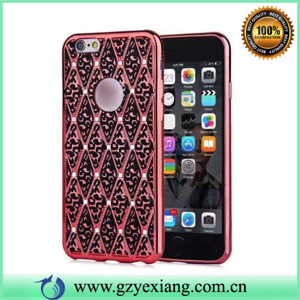 luxry diamond design cell phone case mobile cover for iphone 5 6 6 plus gold electroplating tpu case