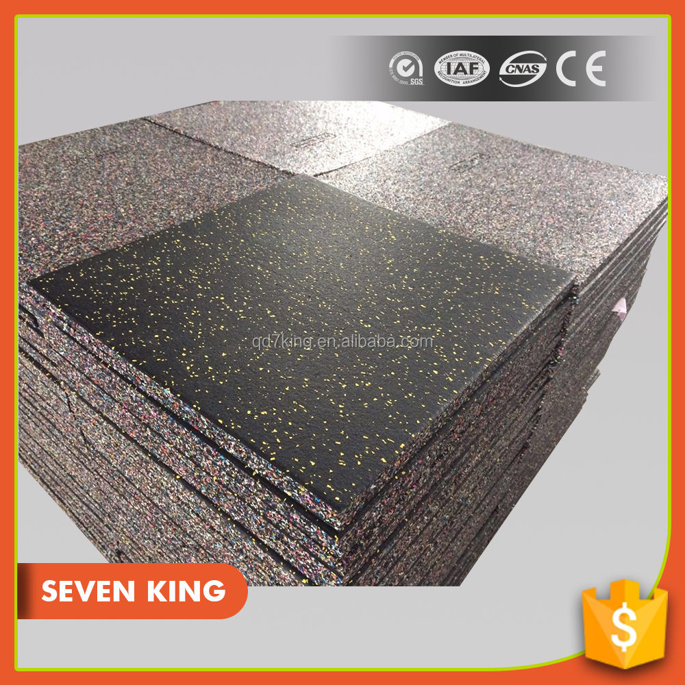 Qingdao 7king high density colorful wholesale basketball court recycled floor rubber tile/paver mat