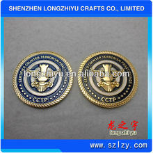 Metal fake gold brass army coins badge two tones plating round 3D custom coin for commemorative