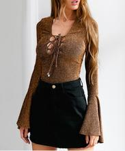 B33464A One Piece elegant long sleeve sequin knitted Bodysuit blouse