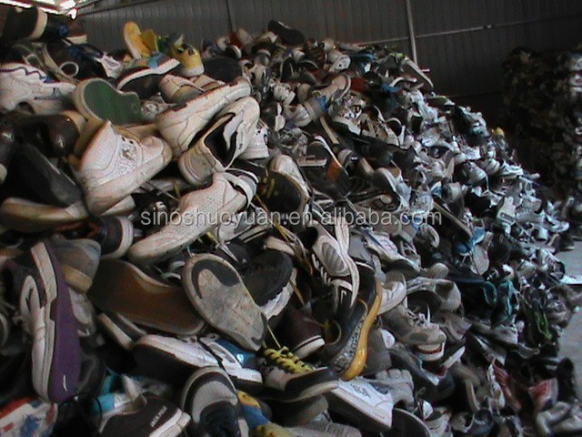 Containers of used shoes in new york