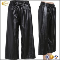 Ecoach Wholesale OEM Ladies Side Seam Pockets Tie-Waist Belt Wide Leg Cropped Trousers Black PU Leather Pants