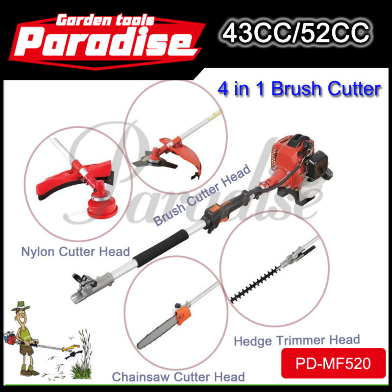 52cc Multi Function Garden Tool 4in1 Petrol Strimmer Brush Cutter