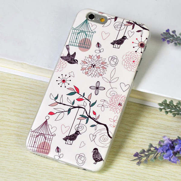 Beautiful vivid birds out of cages and play on swings Hard PC phone cases for iphone6/6+