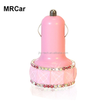 Universal bling diamond design 3.1A output 2 ports usb in car charger shenzhen for smart phone