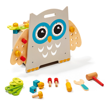 Wooden Tool Bench kids educational toy tool set owl shape Toddler Workbench wooden toy