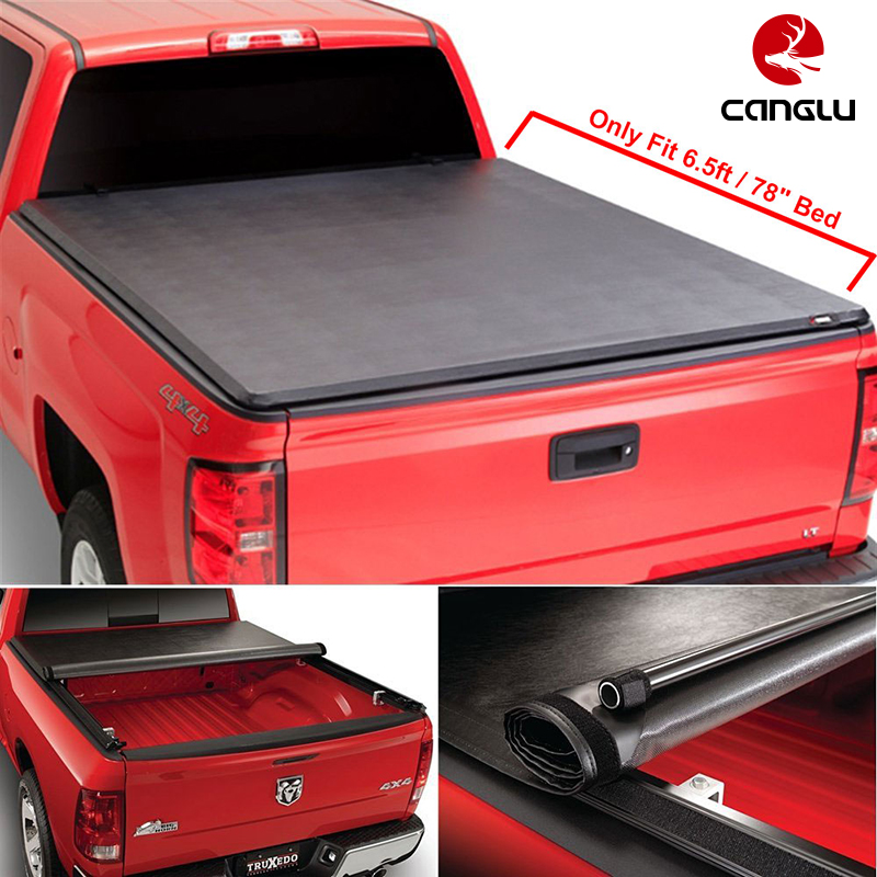 "Roll-up Top Mount Tonneau Cover w/ Rails+Necessary Mounting Hardware Fit 2015-2016 F150 6.5' / 78"" Bed"