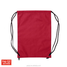 Customized China manufacturer simple style red color blank backpacks recycled cheap small nylon drawstring bags