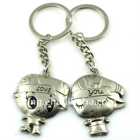 Popular love boy and girl alloy key chain ring