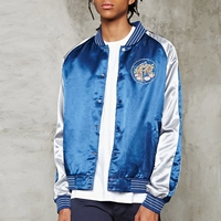 Latest design embroidery souvenir jackets windproof mens satin bomber jacket